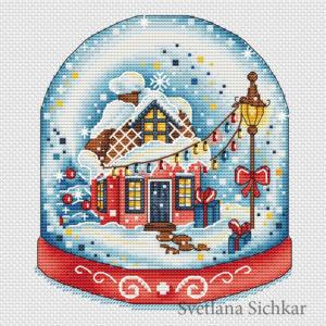 "Cross stitch design ""Red snow globe"""