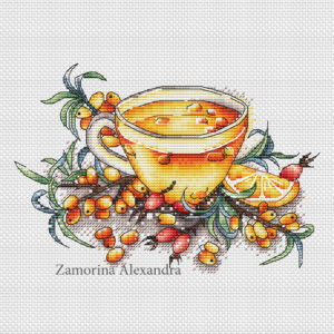 "Cross stitch design ""Sea buckthorn tea"""