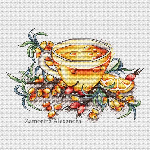 """Cross stitch design """"Sea buckthorn tea"""""""