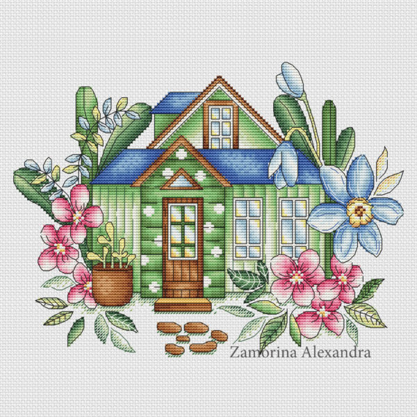 "Cross stitch design ""Spring House"""