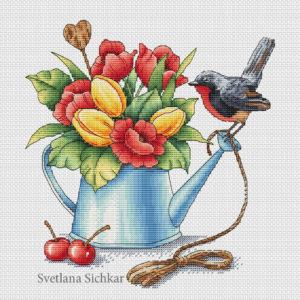 """Cross stitch design """"Spring bouquet"""""""
