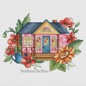 "Cross stitch design ""Summer house"""