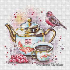 """Cross stitch design """"Tea with viburnum"""""""