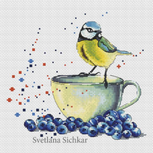 "Cross stitch design ""Tit with blueberry"""