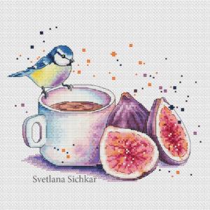 "Cross stitch design ""Tit with figs"""