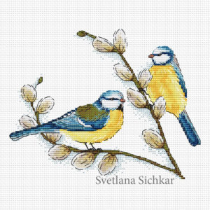 """Cross stitch design """"Tits on the Willow"""""""