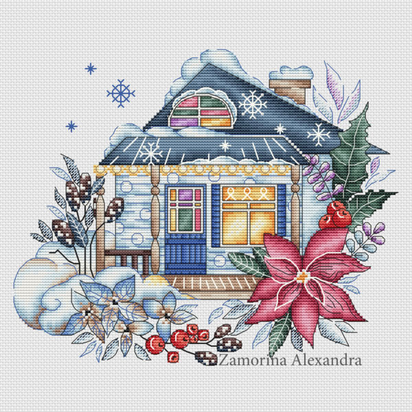 "Cross stitch design ""Winter house"""