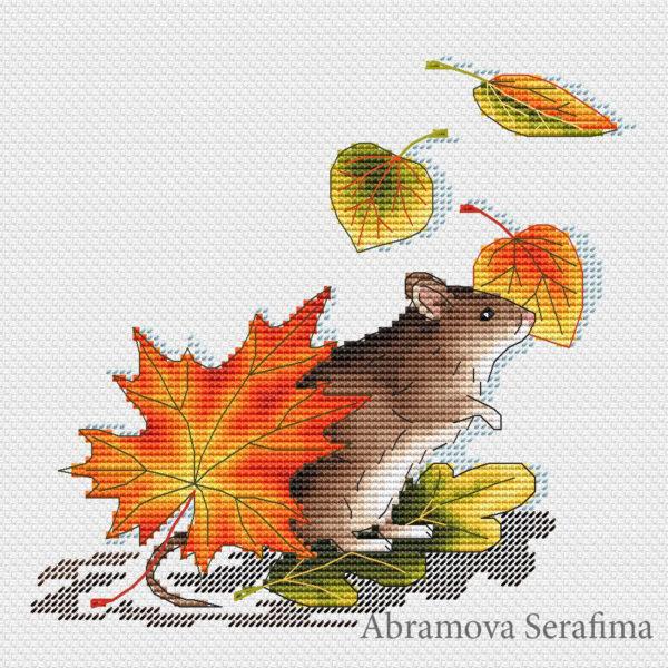 "Cross stitch design ""Autumn Mouse"""