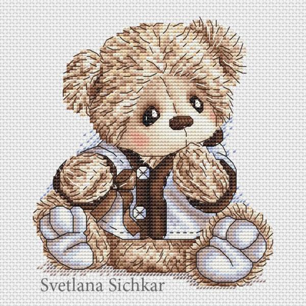 "Cross stitch design ""Bear in jacket"""