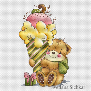 "Cross stitch design ""Bear with dessert"""