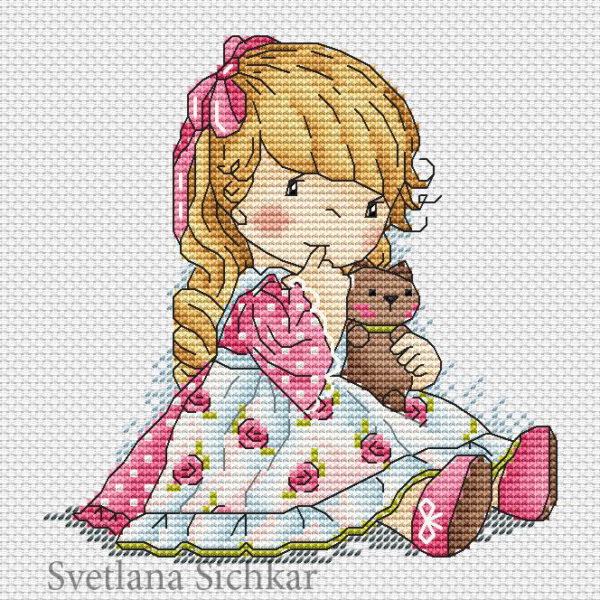 "Cross stitch design ""Favorite doll"""