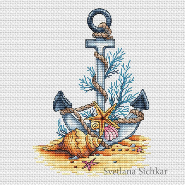 "Cross stitch design ""Sea anchor"""
