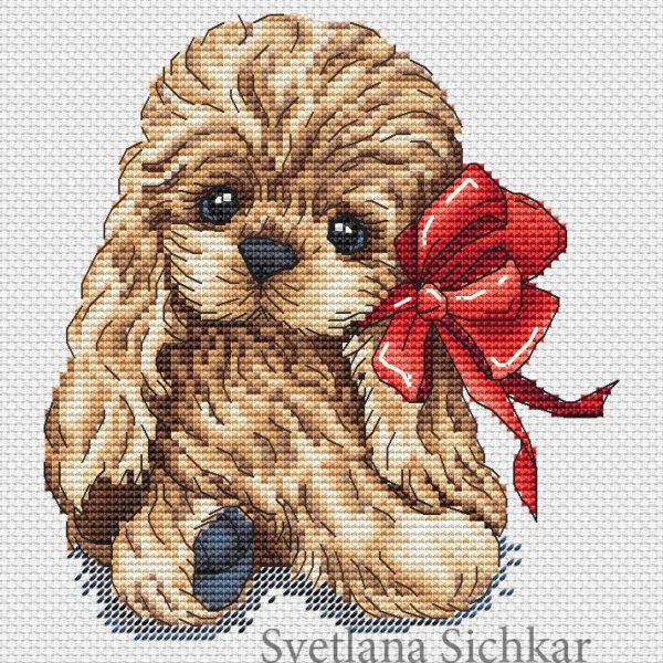 "Cross stitch design ""Spaniel"""