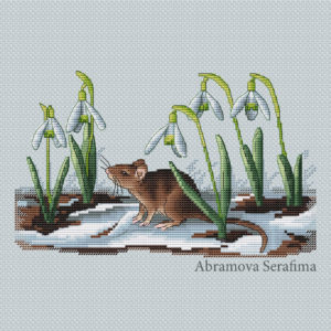 "Cross stitch design ""Spring Mouse"""