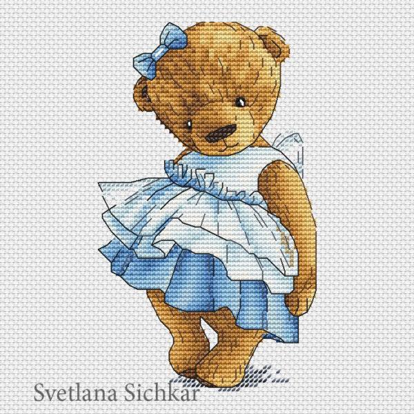 "Cross stitch design ""Teddy with a bow"""