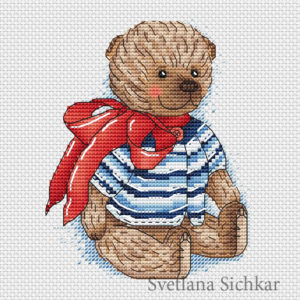 "Cross stitch design ""Teddy with a red bow"""