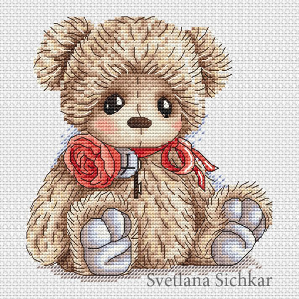 "Cross stitch design ""Teddy with a rose"""