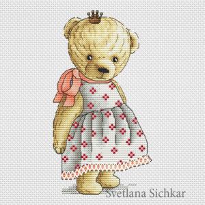 "Cross stitch design ""Teddy with crown"""
