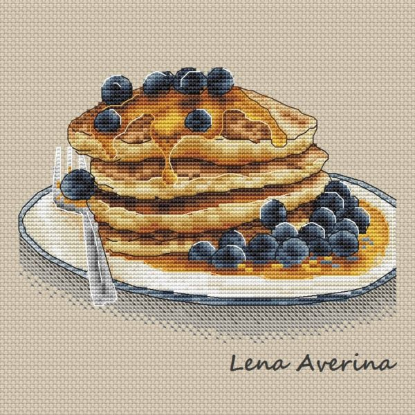 "Cross stitch design ""Pancakes with honey"""