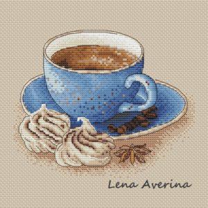 "Cross stitch design ""A cup of coffee"""
