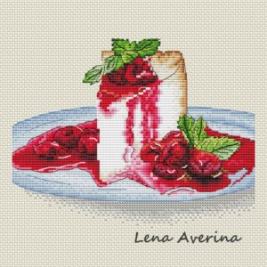 "Cross stitch design ""Cheesecake with cherry"""