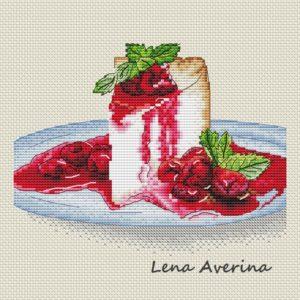 "Cross stitch design ""Cheesecake with cherry"""