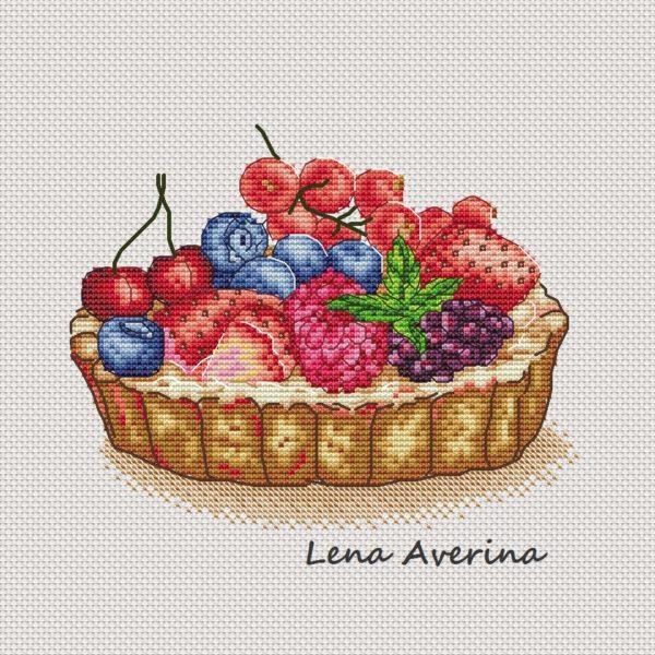 "Cross stitch design ""Basket with berries"""