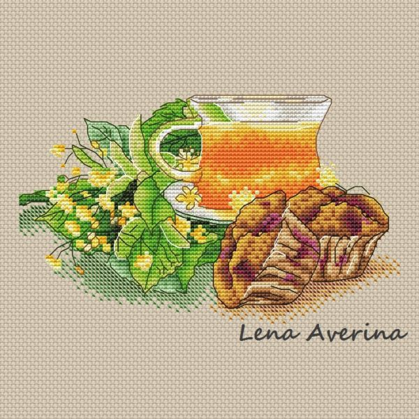 "Cross stitch design ""Linden tea"""