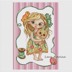 "Cross stitch design ""Beloved bunny"""