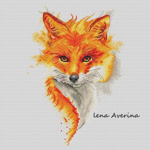 "Cross stitch design ""Fire Fox"""