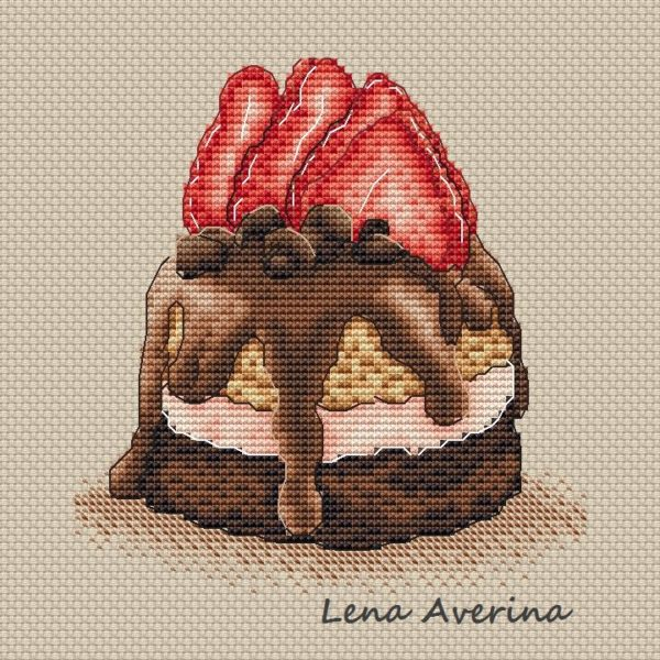 "Cross stitch design ""Cake with chocolate and strawberry mini"""