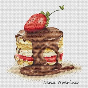 "Cross stitch design ""Strawberry cake"""