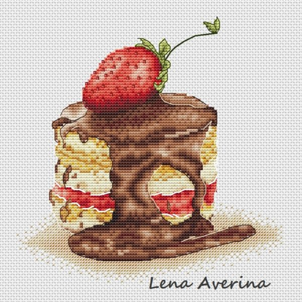 "Cross stitch design ""Strawberry cake"""
