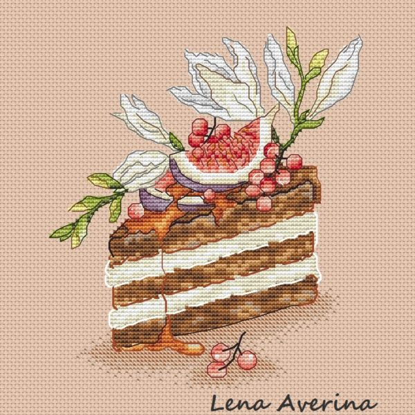"Cross stitch design ""Cake with figs"""