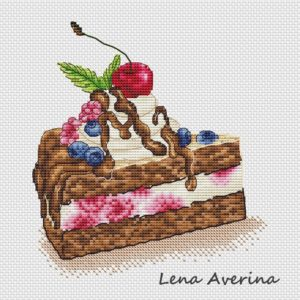 "Cross stitch design ""Cake with cream"""