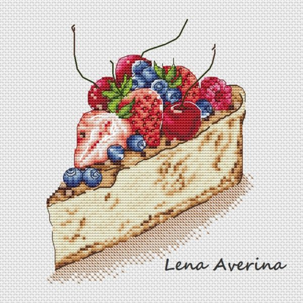"Cross stitch design ""Berry cake"""
