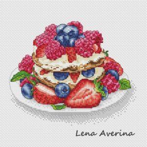 "Cross stitch design ""Berry dessert"""