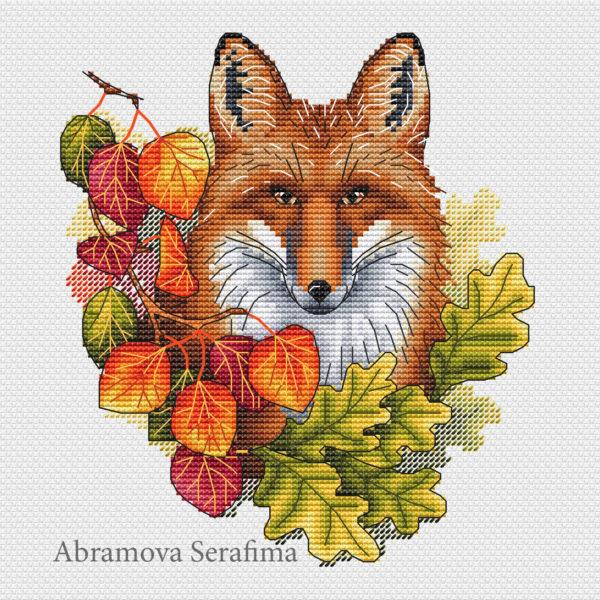 "Cross stitch design ""Autumn Fox"""