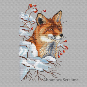 "Cross stitch design ""Winter Fox"""