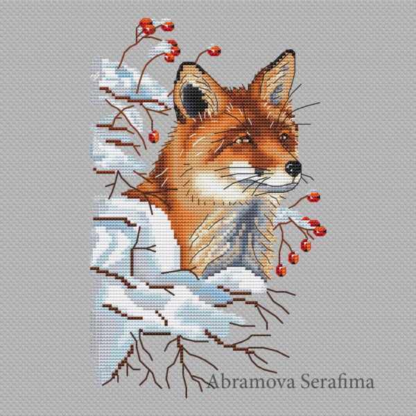 "Cross stitch design ""Winter Fox"""
