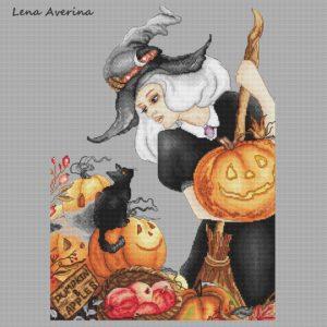 "Cross stitch design ""Good witch"""