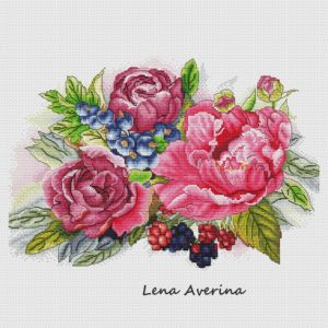 "Cross stitch design ""Berries and flowers"""
