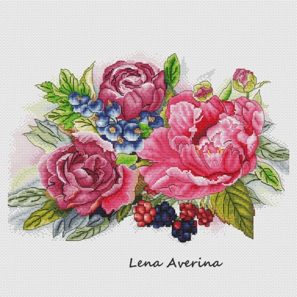"""Cross stitch design """"Berries and flowers"""""""