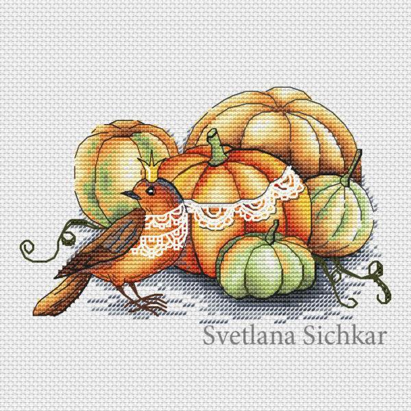 Bird with pumpkins
