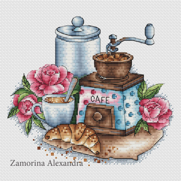 Coffee grinder with roses