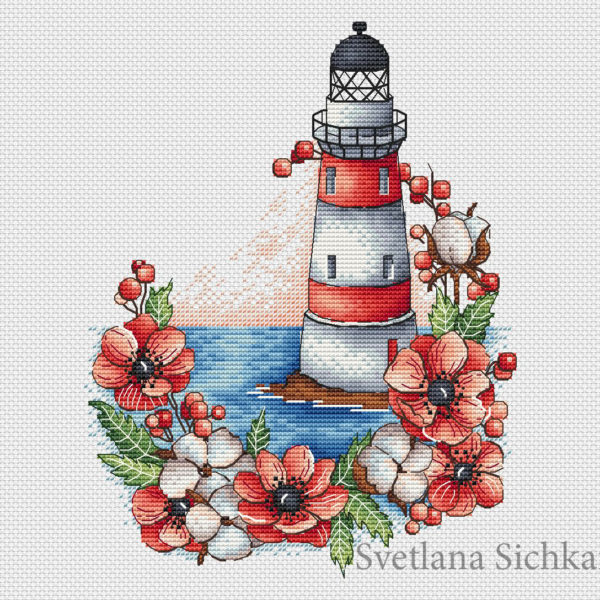 Lighthouse with poppies