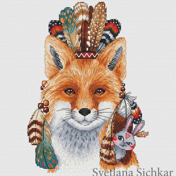 Fox the Indian with a hare