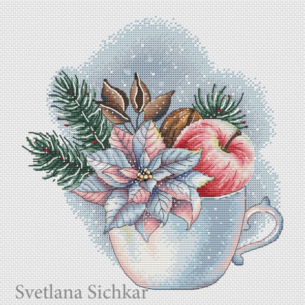Cup with poinsettia