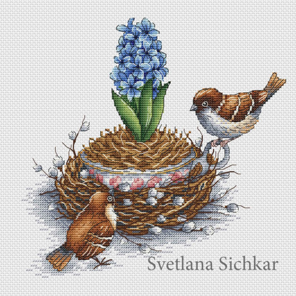 Hyacinth with Sparrows
