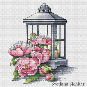 Lantern with peonies